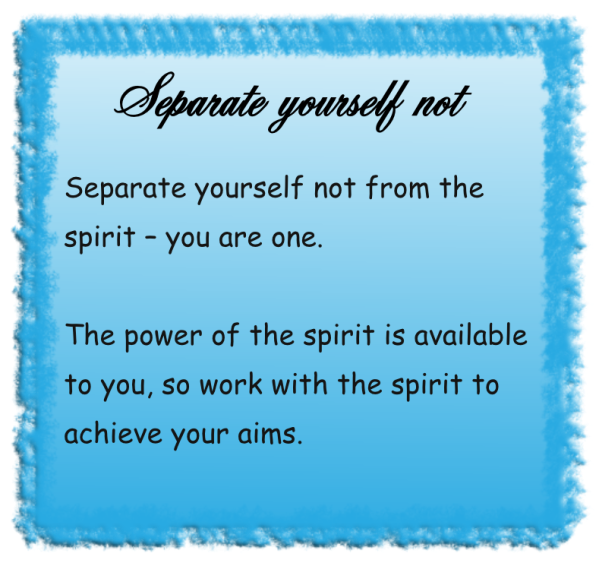 Separate yourself not