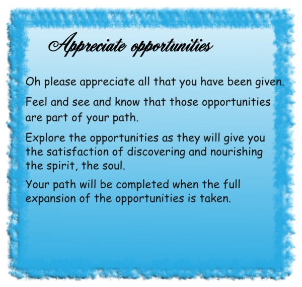 Appreciate opportunities