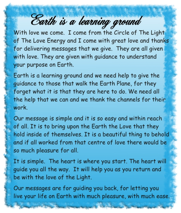 Earth is a learning ground
