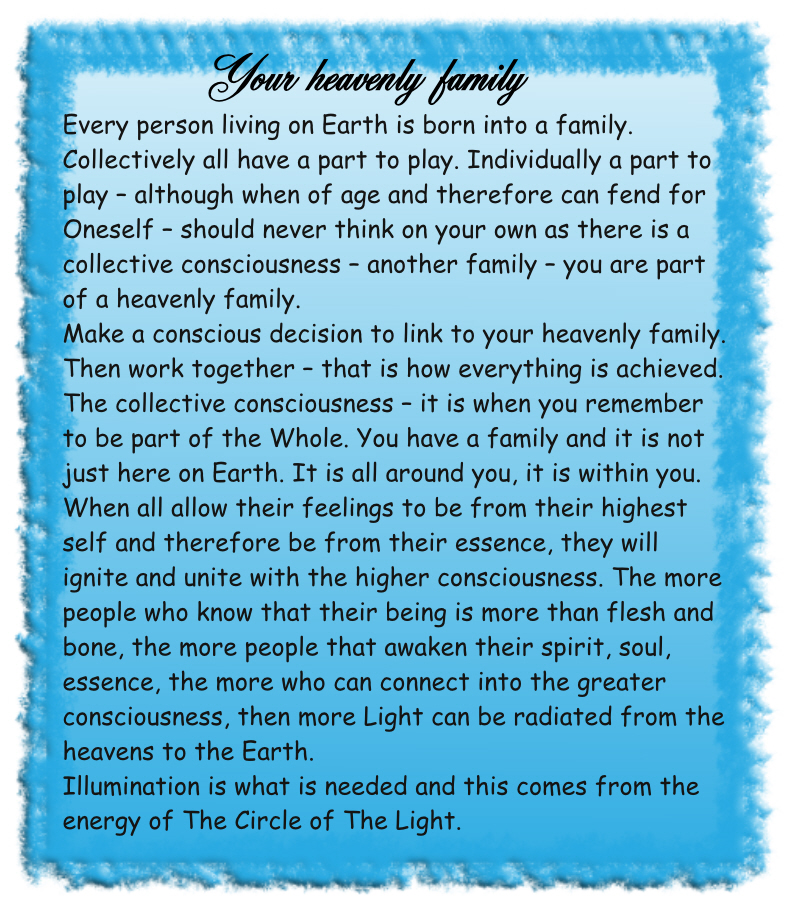 your heavenly family channelled spiritual message from the circle