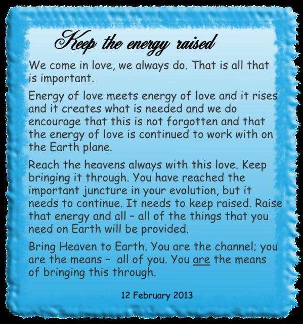 Keep the energy raised