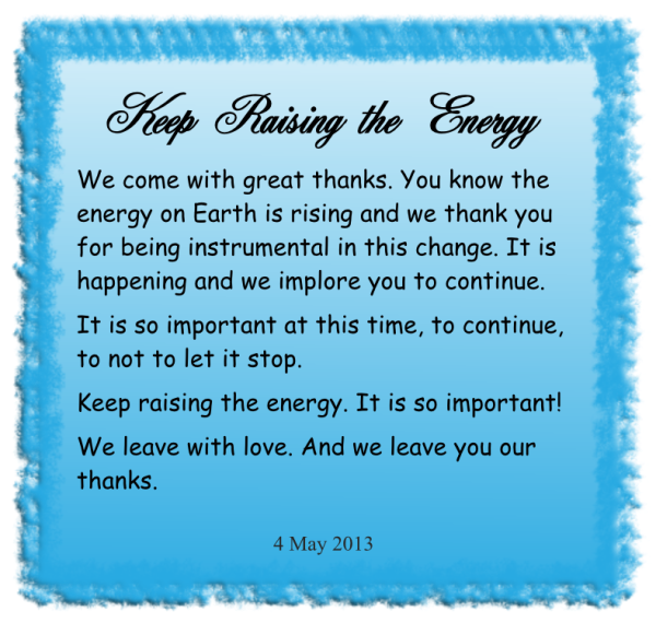 Keep raising the energy