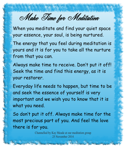 Make Time for Meditation