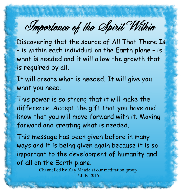 Importance of the Spirit Within