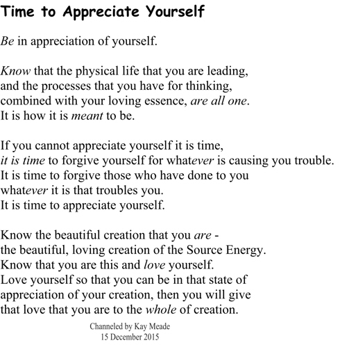Time to Appreciate Yourself